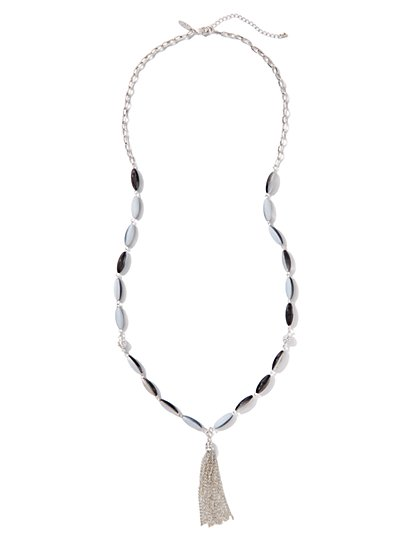 Marble-Beaded Tassel Necklace - New York & Company