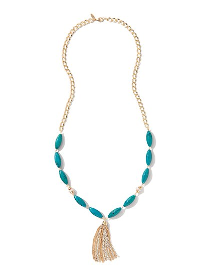 Marble-Beaded Tassel Necklace