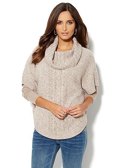 Marled Cowl-Neck Poncho Sweater - New York & Company