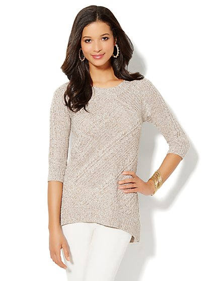 Marled Hi-Lo Cable Sweater - New York & Company