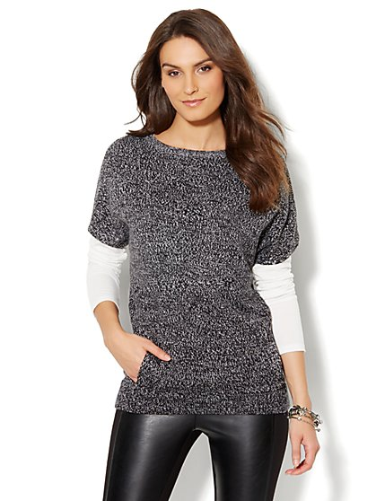 Marled Hi-Lo Tunic Sweater - New York & Company