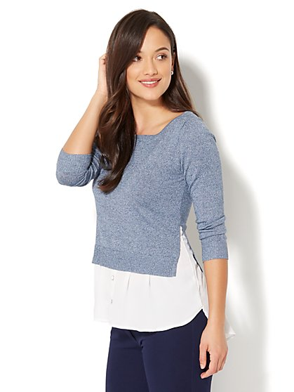 Marled Hi-Lo Twofer Sweater - New York & Company