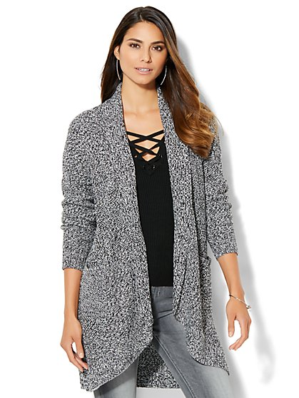 Marled-Knit Cocoon Cardigan  - New York & Company