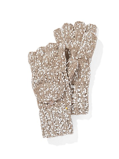 Marled-Knit Pom-Pom Gloves  - New York & Company