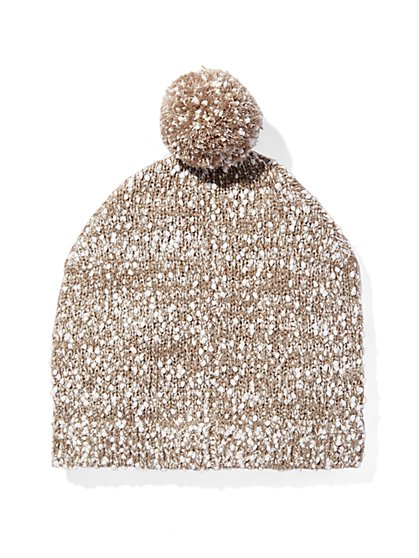 Marled-Knit Pom-Pom Hat  - New York & Company