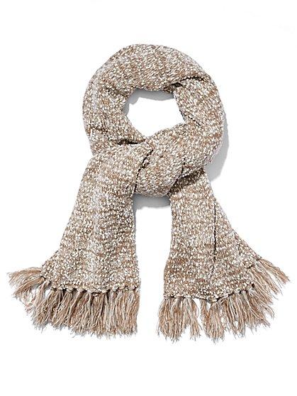 Marled-Knit Pom-Pom Scarf   - New York & Company