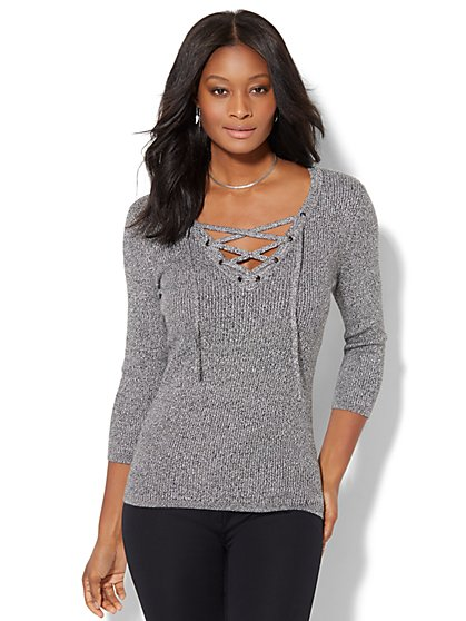 Marled Lace-Up Ribbed Sweater - New York & Company