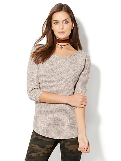 Marled Shirttail Dolman Sweater - New York & Company