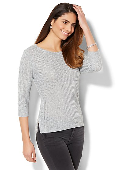 Marled Zip-Accent Mixed-Knit Sweater - New York & Company