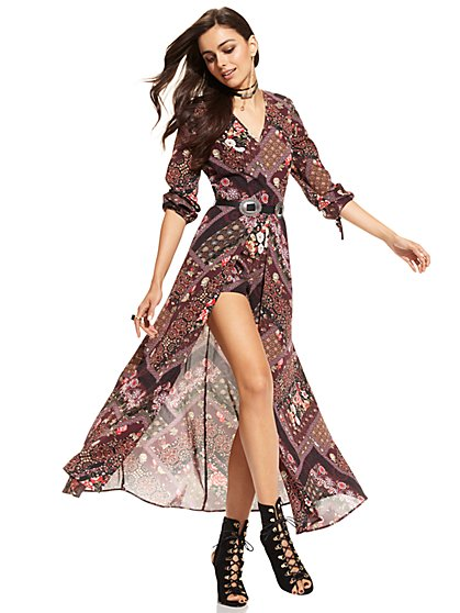 Maxi Dress with Shorts - Print   - New York & Company