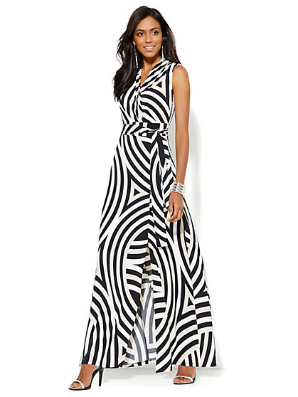 Maxi Wrap Dress - Abstract Stripe - New York & Company