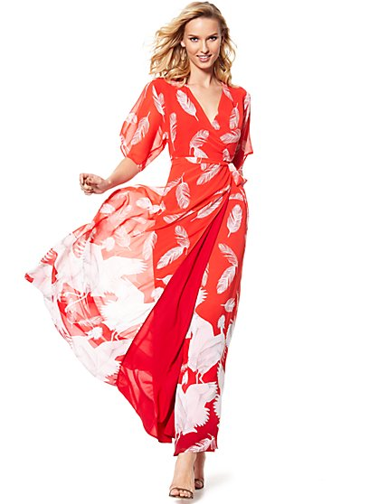Maxi Wrap Dress - Red - Feather Print - New York & Company