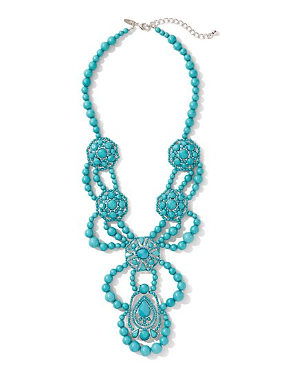 Medallion Beaded Statement Necklace
