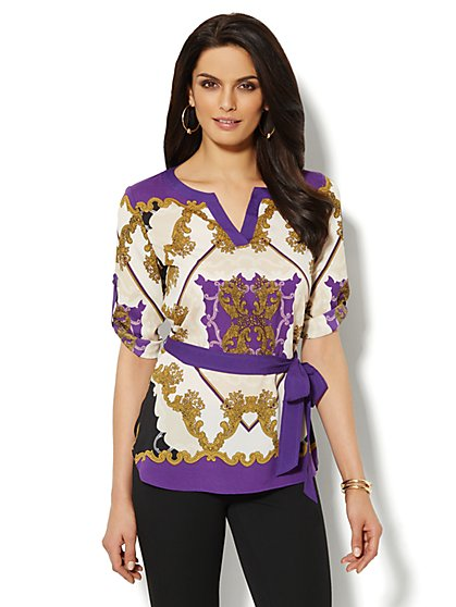 Medallion-Print Belted Blouse  - New York & Company