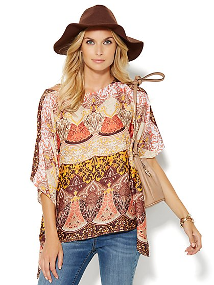 Medallion-Print Poncho - New York & Company