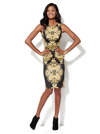 Medallion-Print Scuba Midi Sheath Dress  - New York & Company