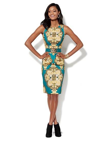 Medallion-Print Scuba Midi Sheath Dress  - New York & Company