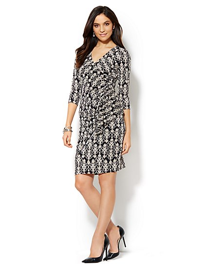 Medallion Side-Ruffle Wrap Dress  - New York & Company