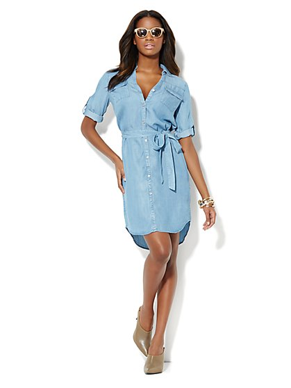 Mercer Chambray Shirtdress  - New York & Company