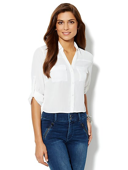 Mercer Cropped Soft Shirt - Paper White - New York & Company