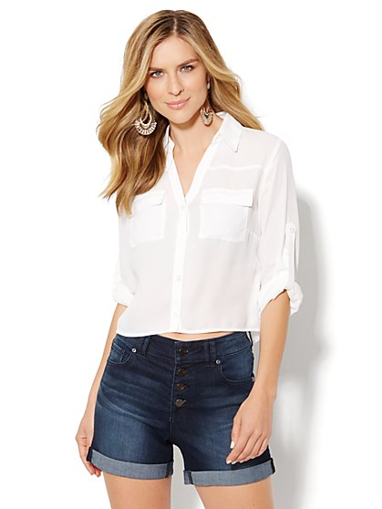 Mercer Cropped Soft Shirt - Solid - New York & Company