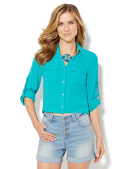 Mercer Cropped Soft Shirt - Solid