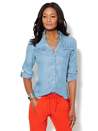 Mercer Shirt - Ultra-Soft Chambray  - New York & Company