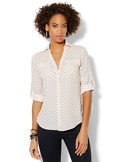 Mercer Soft Clip-Dot Blouse - New York & Company