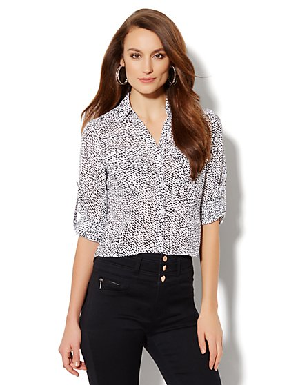 Mercer Soft Cropped Shirt - Abstract Print - New York & Company