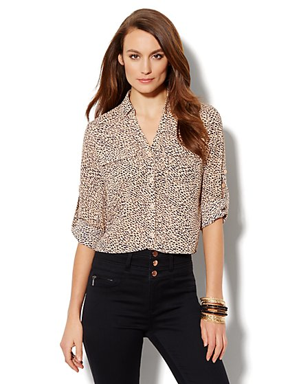 Mercer Soft Cropped Shirt - Abstract Print