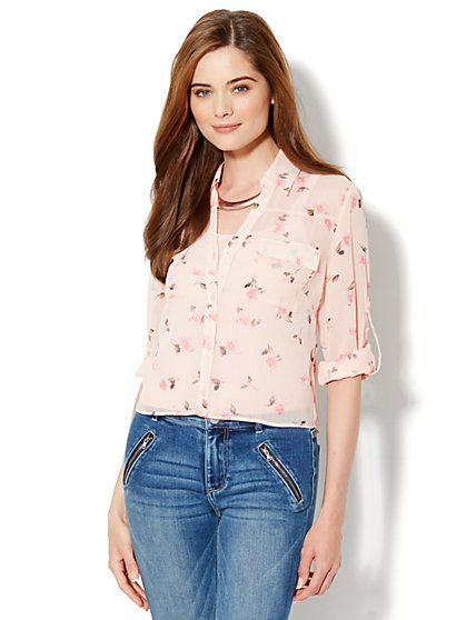 Mercer Soft Cropped Shirt - Floral - New York & Company