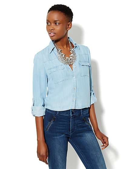 Mercer Soft Cropped Shirt - Tencel  - New York & Company