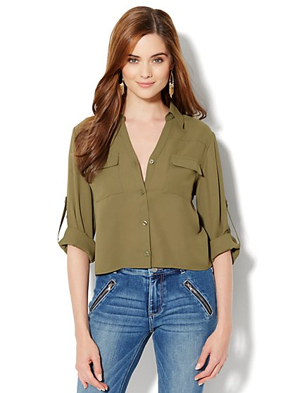 Mercer Soft Cropped Shirt - New York & Company