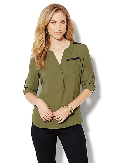 Mercer Soft Popover Shirt - Faux-Leather Trim
