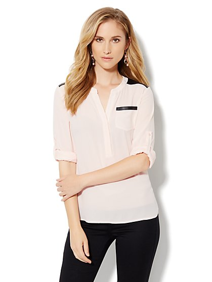Mercer Soft Popover Shirt - Faux-Leather Trim - New York & Company
