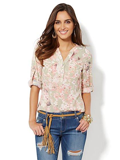 Mercer Soft Popover Shirt - Floral Print - New York & Company