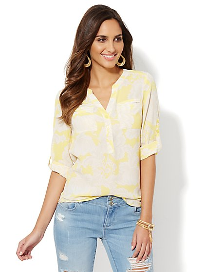 Mercer Soft Popover Shirt - Floral - New York & Company