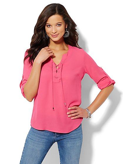 Mercer Soft Popover Shirt - Lace-Up  - New York & Company