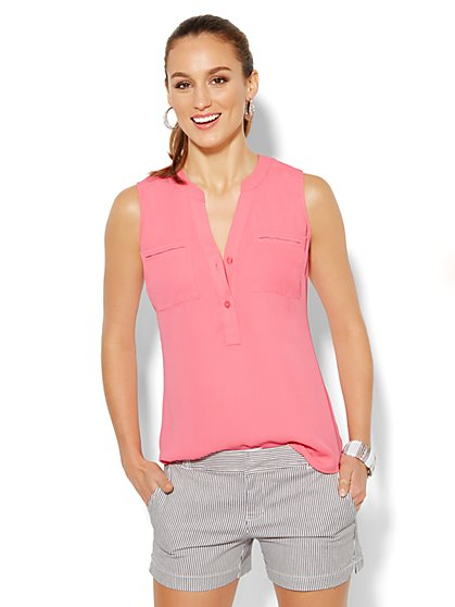 Mercer Soft Popover Shirt - Sleeveless - Solid  - New York & Company