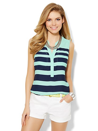 Mercer Soft Popover Shirt - Sleeveless - Stripes - New York & Company