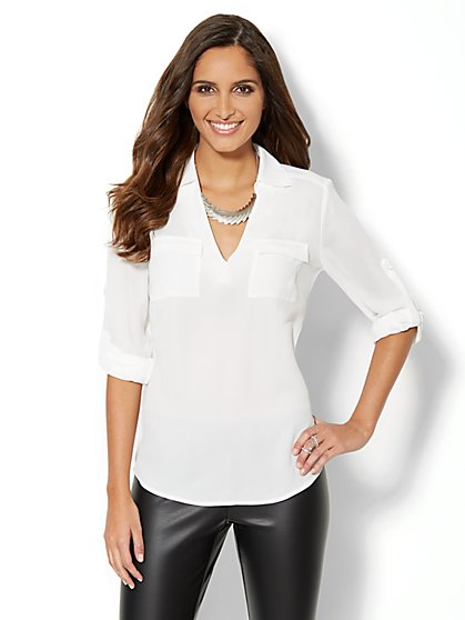 Mercer Soft Popover Shirt - Solid - New York & Company