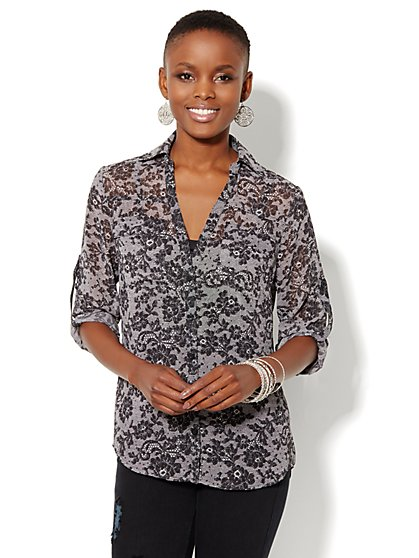 Mercer Soft Shirt - Lace Print  - New York & Company