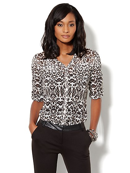 Mercer Soft Shirt - Leopard Print - New York & Company