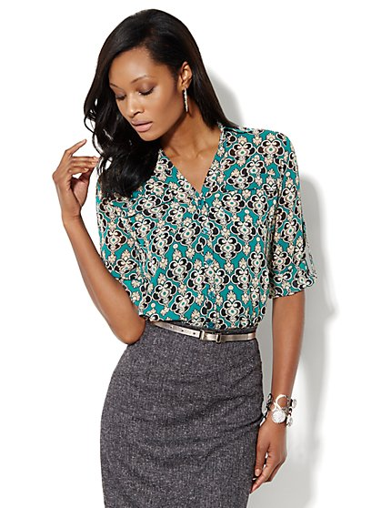 Mercer Soft Shirt - Medallion Print  - New York & Company