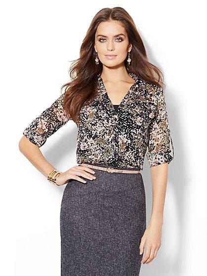 Mercer Soft Shirt - Paint-Splatter Print - New York & Company