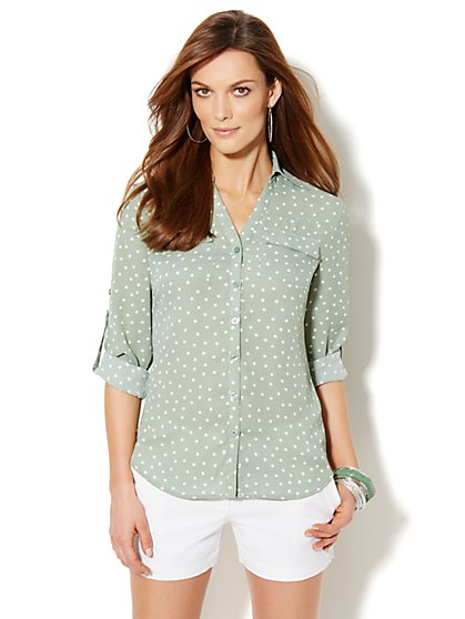 Mercer Soft Shirt - Polka-Dot - New York & Company