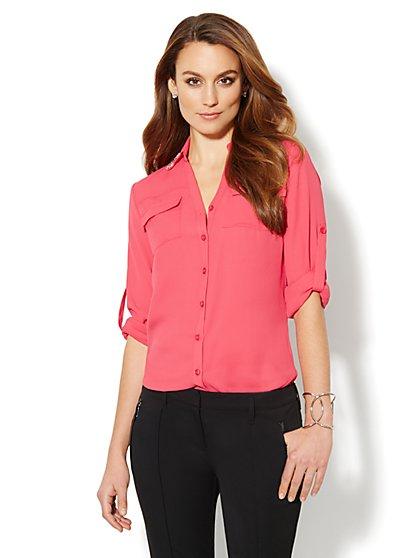 Mercer Soft Shirt - Rhinestone Accent  - New York & Company