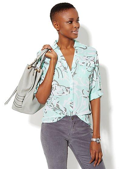 Mercer Soft Shirt - Scroll Print  - New York & Company
