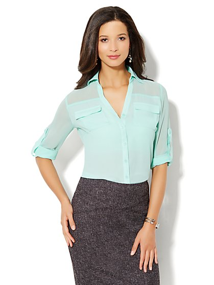 Mercer Soft Shirt - Sheer Illusion - New York & Company