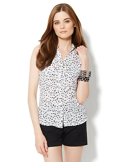 Mercer Soft Shirt - Sleeveless - Bird Print